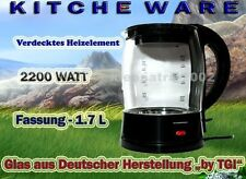 KITCHEWARE by TGI Glas Teekocher Wasserkocher 1.7L 2200W 360° Kalksieb B1
