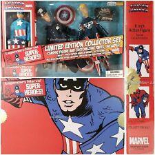 "NEW Captain America Limited Edition Collector Set Marvel Retro 8"" 3 Figures NIB"