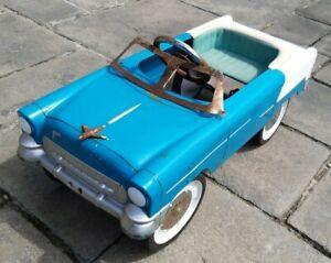 Vintage 1950s / 1960s Chevy Impala Pedal Car Turquoise Rare Classic Metal Chrome