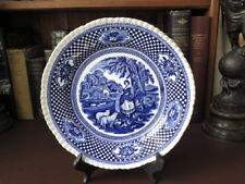 Antique Adams Ironstone Blue & White Ware Plate - Rural Scenes - Late 19th c