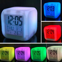 LED Digital Glowing Cube Alarm Clock Night Light For Bedroom Child Kids Gift Hot