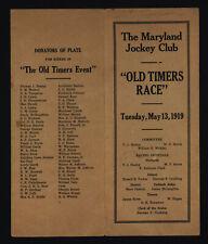 "Maryland Jockey Club 5/13/1919 ""Old Timers Race"" - Horse Racing Card"