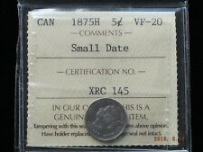1875H - Small Date - Canadian Silver Five Cent - ICCS Graded VF-20