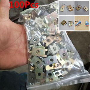 100X Car Fastener U Type Gasket Fixed Screw Metal Clip For Car Door Panel Fender