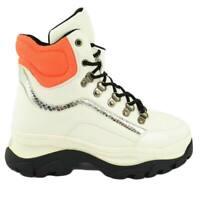 Sneakers alta donna bianca con fondo buff bicolore platform e ganci in acciaio r