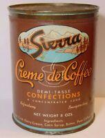 Old Vintage 1950s SIERRA Creme de COFFEE GRAPHIC 1/2 POUND CAN SAN FRANCISCO CA