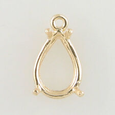 PRENOTCHED 12X8 PEAR SOLITAIRE DANGLE EARRING IN 10K YELLOW GOLD CB12X8PR-10KY