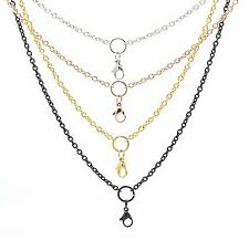 "Stainless Steel Floating Locket Necklace Silver Gold Rose Black Chain 14"" to 24"""