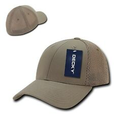Khaki Solid Flex Low Crown Cotton Mesh 6 Panel Baseball Golf Fit Fitted Hat Cap