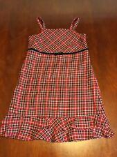 Gymboree Girl Dress 8 Plaid Red Jumper Ruffle Strap Sleeveless