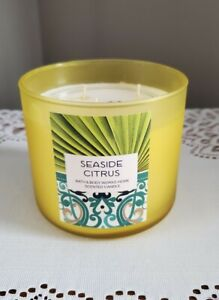 ☆NEW 3 WICK BATH & BODY WORKS SEASIDE CITRUS CANDLE WITH GLASS JAR☆