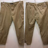 Eddie Bauer Mens Size 36 x 32 Beige Khaki Flat Front Flannel Lined Chino Pants