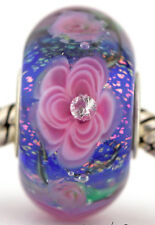 ROSE GARDEN Mandy Ramsdell european charm lampwork glass bead .925 silver core
