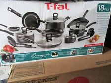 T-FAL Cookware Set Aluminum Non-Stick with Tempered Glass Lids, Grey (18-Piece)