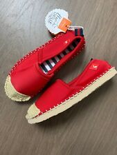 New Joules Older Girls Red Espadrilles Flat Shoes Size UK 1 EU 33