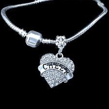 cheerleader Bracelet  Cheering  Cheer  crystal heart charm  best jewelry gift