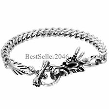 "Franco Chain Toggle Clasp Bracelet 9.4"" Men's Biker Punk Dragon Stainless Steel"