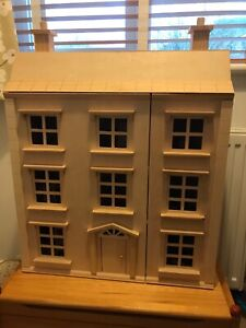 Wooden Dolls House 4 Storey with complete set furniture VGC