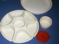 TUPPERWARE Taco, Cheese, Fruit, Divided Serving Tray with Dip Bowl & RED Seal