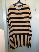 Ginger & Smart navy and brown stripped dress in size 12