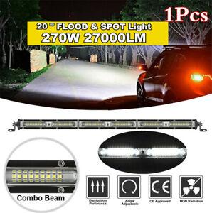 "20"" 270W LED Work Light Bar Single Row Flood Spot Beam Car Offroad Snow Fog Lamp"