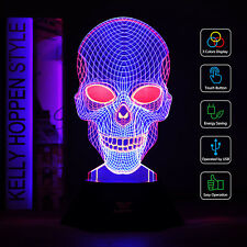 SAVFY 2018 NEW 3D Night Light LED Desk Bedroom Illusion Lamp Decor Skull  LINE