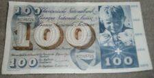 100  swiss Frank Banknote   2  x  banknotes  ,used ,circulated 1/4 folded