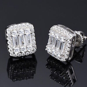 Solid plated Silver Iced Baguette Diamond Hip Hop Earrings Studs