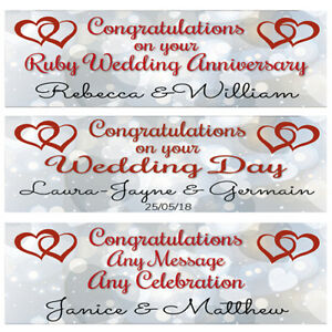 2 PERSONALISED JOINED HEARTS WEDDING BANNERS, RUBY WEDDING ANNIVERSARY BANNERS