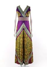 Vtg c.1970's Purple Bohemian Paisley Knit Sleeveless Wide Leg Palazzo Jumpsuit