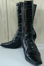 """Kathy Levine by Request granny boots size 8 M calf length 3"""" heel zipper leather"""