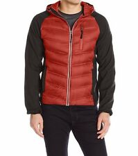 London Fog men's Down filled hooded Red Jacket w/ soft shell sleeve LARGE
