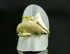 14K Yellow Gold Dolphin Ring with Emerald Eyes