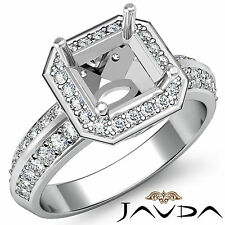 Diamond Halo Pave Engagement Ring Setting Asscher Semi Mount Platinum 950 1Ct