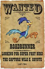 "ROADRUNNER WANTED POSTER FRIDGE MAGNET. 4""X 5"". LOONEY TUNES CARTOONS..FREE SHIP"