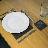 Natural Slate Rectangle Placemat And Coaster Sets Dining Table Drinks Settings