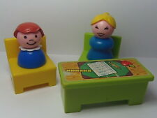 VINTAGE Fisher Price Little People #923 SCHOOL TEACHER, GIRL, DESK & CHAIRS