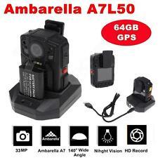 64Gb Ambarella A7 Gps Hd 1296P Police Body Night Version Camera 140° Wide Angle