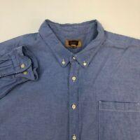 Foundry Button Up Shirt Men's Size 4XL XXXXL Long Sleeve Blue White Mix Casual