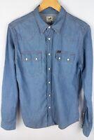 Lee Denim Men Casual Shirt Western Blue Cotton size S