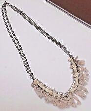 New Ann Taylor Loft Beachy Silver Rhinestone Gauze and Shell Necklace