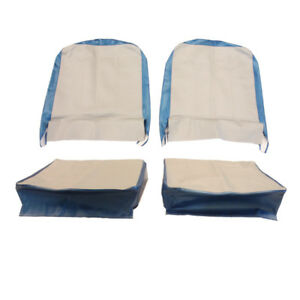 Seat Cover Assembly Left And Right Light Gray And Gulf Blue 1957-1964 CJ3B & ...