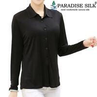 Pure Silk Knit Women's Turndown Collar Button Long Sleeves Top