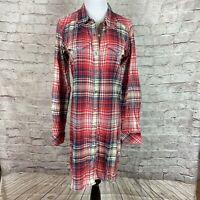 Kavu Women's Flannel button front shirt dress Womens Sz  Small Elbow Patches Red