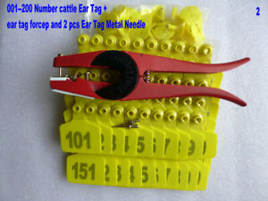 001--200 Number Yellow Animal cattle Ear Tags  +  Ear Tag Forcep