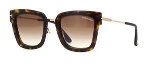 TOM FORD LARA-02 FT0573 52F Sunglasses Havana Frame Gradient Brown Lenses 52mm