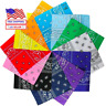 Bandana Face Mask Cover Head Wrap Scarf 100% Cotton Paisley 3 to 12 PCS