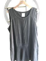 Ladies Next Black Linen Blend Sleeveless Tunic Summer Panel Dress Sz20