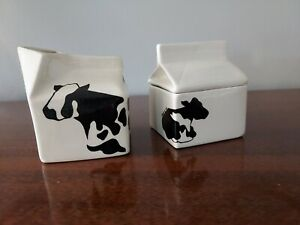 Country Sugar Creamer Cow Milk Carton Set Black & White Ceramic Manitowoc WI