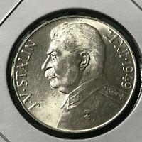 1949 CZECHOSLOVAKIA SILVER 50 KORUN STALIN BRILLIANT UNCIRCULATED